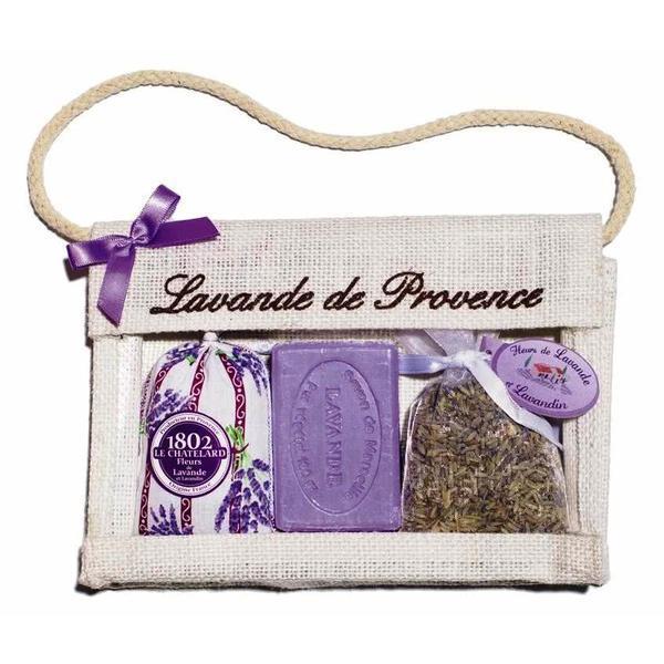 Set Cadou Poseta Iuta Naturala Sapun Marsilia 100g Lavanda si 2 Saculeti Flori Lavanda Provence 18g si 15g Le Chatelard 1802 imagine produs