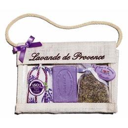 Set Cadou Poseta Iuta Naturala Sapun Marsilia 100g Lavanda si 2 Saculeti Flori Lavanda Provence 18g si 15g Le Chatelard 1802