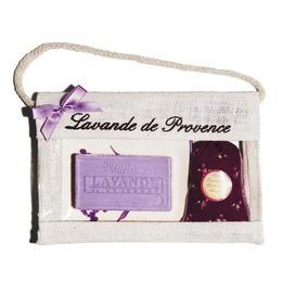 Set Cadou Poseta Iuta Sapun Marsilia 100g Lavanda Savoniera Ceramica si Saculet Flori Lavanda Provence 18g Le Chatelard 1802 de la esteto.ro