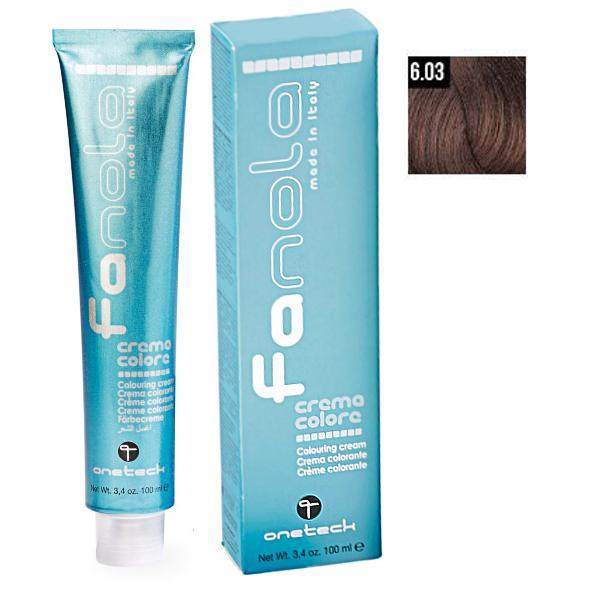 Vopsea Crema Permanenta Fanola 6.03 Blond Inchis Cald, 100ml imagine produs