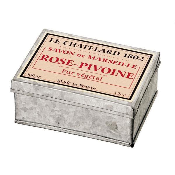 Sapun Natural de Marsilia 100g Rose Pivoine Trandafir Bujor Cutie Galva Le Chatelard 1802 imagine produs