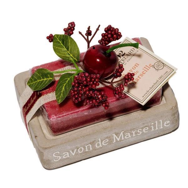 Set Cadou Savoniera Sapun Natural Marsilia 100g Oval Cirese Cerise Griotte Le Chatelard 1802 imagine produs