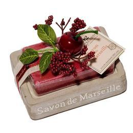 Set Cadou Savoniera Sapun Natural Marsilia 100g Oval Cirese Cerise Griotte Le Chatelard 1802