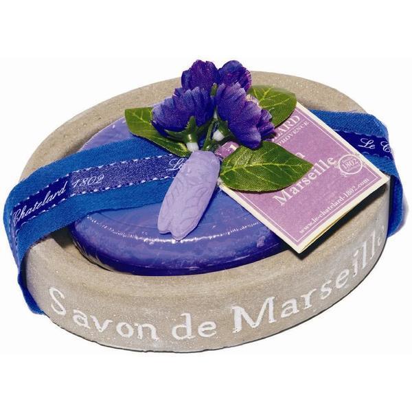 Set Cadou Savoniera Sapun Natural Marsilia 100g Oval Violete Mure Le Chatelard 1802 esteto.ro