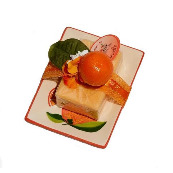 Set Cadou Savoniera Sapun Natural Marsilia 100g Orange Pamplemousse Portocala Grapefruit Le Chatelard 1802