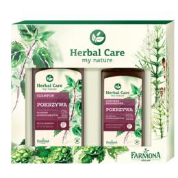 Pachet Cadou pentru Par Gras cu Extract de Urzica Farmona Herbal Care - Sampon 330ml, Balsam-Spray 200ml