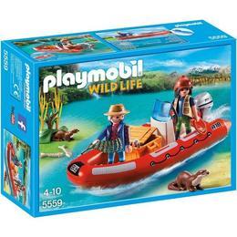 Playmobil Wild Life - Cu barca gonflabila cu cercetatori, copiii pot descoperi cele mai ascunse raur