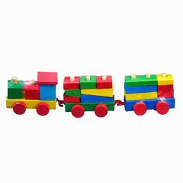 Trenulet lemn de stivuit - 19 piese - Woody