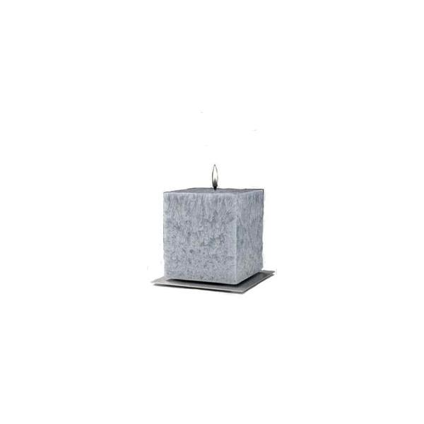 Set Cadou Lumanare Decorativa cu Suport Otel Inox Amabiente Kubus 16413 Silver Gray