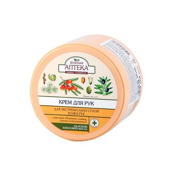 Crema Nutritiva pentru Maini Uscate cu Uleiuri de Cocos si Catina Zelenaya Apteka, 300ml imagine produs