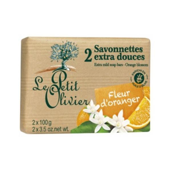 Sapun Vegetal cu Extract de Flori de Portocal Le Petit Olivier, 2 x 100g poza