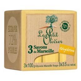 Sapun de Marsilia Extra Pur 72% Ulei de Masline si Glicerina Le Petit Olivier, 3 x 100g