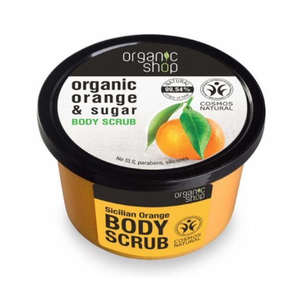 Exfoliant Corporal cu Zahar si Ulei de Portocale Sicilian Orange Organic Shop, 250ml imagine produs