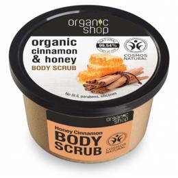 Exfoliant Corporal cu Zahar, Miere si Scortisoara Honey Cinnamon Organic Shop, 250ml