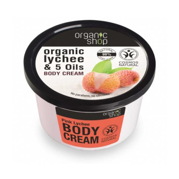 Crema Corporala cu Extract de Litchi si 5 Uleiuri Pink Lychee Organic Shop, 250ml imagine produs