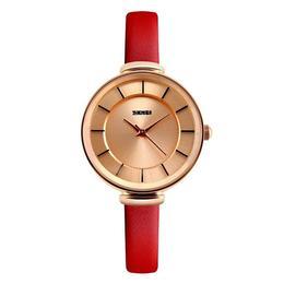 Ceas Dama SKMEI CX 101, curea piele rosu,cadran classic auriu