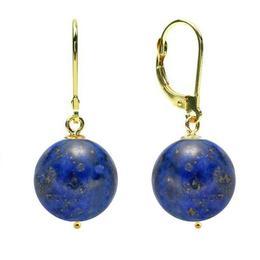 Cercei Aur 14 karate si Lapis Lazuli de 12 mm