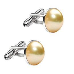 Butoni Unisex din Argint si Perle Naturale Crem