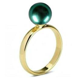 Inel din Aur cu Perla Naturala Premium Verde Smarald