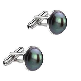 Butoni Unisex din Argint si Perle Naturale Negre