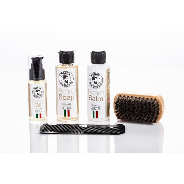 Ulei Esential pentru Barba + Balsam + Perie Profesionala + Sapun + Pieptan Profesional 100% Natural, made in Italy