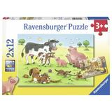Puzzle familii animale, 2x12 piese - Ravensburger