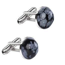 Butoni Unisex din Argint si Obsidian Fulg de Nea