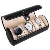 Cutie caseta depozitare si transport Pufo pentru 3 ceasuri, negru