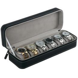 Geanta tip caseta depozitare, organizare si transport Pufo pentru 6 ceasuri, negru