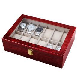 Cutie caseta din lemn pentru depozitare si organizare Pufo, pentru 12 ceasuri, model Premium
