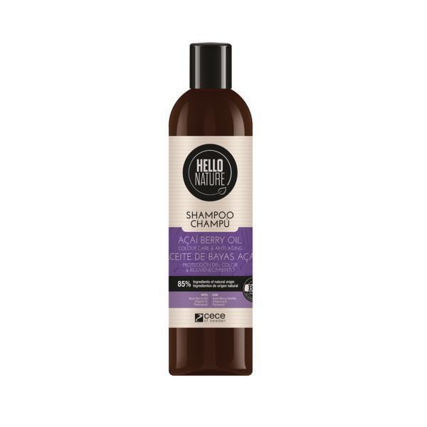 Sampon BIO Hello Nature cu ulei de afine pentru mentinerea culorii, anti-imbatranire, hidratare, restructurare si intarirea firului de par 300 ml