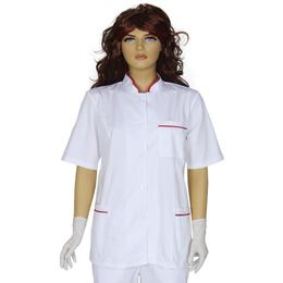 Halat-Tunica Femei Prima, alb-rosu, tercot, marime XL (50-52)