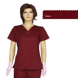 Bluza Dama Guler V Clasic Cambrata Prima, grena, tercot, marime XS (34-36)