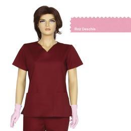 Bluza Dama Guler V Clasic Cambrata Prima, roz deschis, tercot, marime XL (50-52)