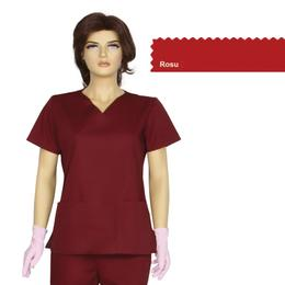 Bluza Dama Guler V Clasic Cambrata Prima, rosu, tercot, marime XS (34-36)