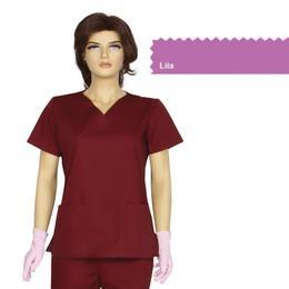 Bluza Dama Guler V Clasic Cambrata Prima, lila, tercot, marime XL (50-52)