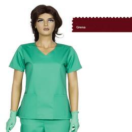 Bluza Dama Guler V Modern Cambrata Prima, grena, tercot, marime XS (34-36)