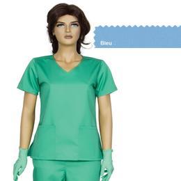 Bluza Dama Guler V Modern Cambrata Prima, bleu, tercot, marime XS (34-36)