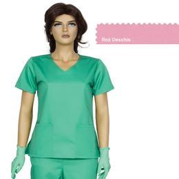Bluza Dama Guler V Modern Cambrata Prima, roz deschis, tercot, marime XL (50-52)