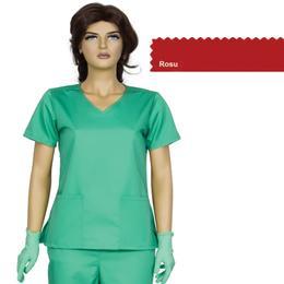 Bluza Dama Guler V Modern Cambrata Prima, rosu, tercot, marime L (46-48)