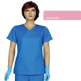 Bluza Dama Guler V Trend Cambrata Prima, roz deschis, tercot, marime S (38-40)