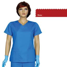 Bluza Dama Guler V Trend Cambrata Prima, rosu, tercot, marime XS (34-36)