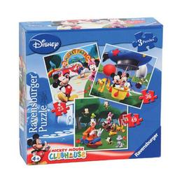 Puzzle clubul mickey mouse, 3 buc in cutie, 25/36/49 piese - Ravensburger