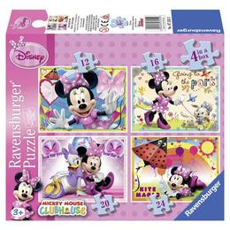 Puzzle minnie mouse, 4 buc in cutie, 12 /16 /20 / 24 piese - Ravensburger