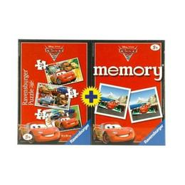 Puzzle + joc memory disney cars, 3 buc in cutie 15 / 20/ 25 piese - Ravensburger