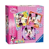 Puzzle minnie mouse, 3 buc in cutie, 25 /36 / 49 piese - Ravensburger