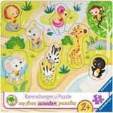 Puzzle din lemn animale zoo, 8 piese - Ravensburger