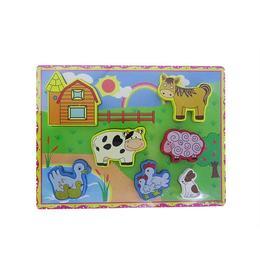 Puzzle din lemn ferma vesela, 7 elemente, varsta 18 luni+, multicolor, coordonare mana- ochi - Disney