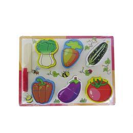 Puzzle din lemn cu legume de taiat, 6 elemente, 30 cm, varsta 18 luni+, coordonare mana- ochi, multicolor - Disney