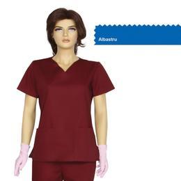 Bluza Dama Guler V Clasic Cambrata Prima, albastru, tercot, marime XL (50-52)